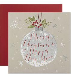 CARD Holly bauble christmas card