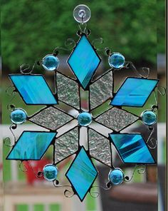 Snow flake suncatcher with gem beads and decorative by ManemannArt, $40.00