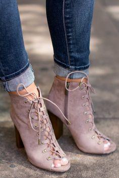 On Tour Taupe Lace-Up Heels at reddressboutique.com