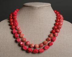 Red Pink Stone Necklace Calcite, Howlite, Dolomite, Brass under 100 - Lascaux. $98.00, via Etsy.