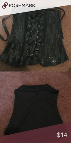 Black lace up sequined corset Black lace up sequined corset. Never worn. Other