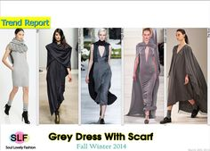 Grey Dress With #Scarf Trend for Fall Winter 2014 #Fall014