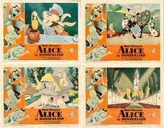 1951 Vintage Disney Alice in Wonderland Lobby Cards Complete Set of 8 now listed on eBay