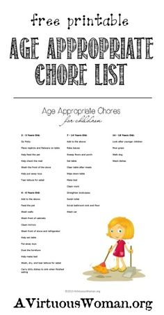Children and Chores {Free Printable Age Appropriate Chores List} | A Virtuous Woman #fromchaostocalm Chore Chart Kids, Chore Charts, Age Appropriate Chores, Chore List, Virtuous Woman, Chores For Kids, Parenting 101, Chore Ideas, Raising Kids