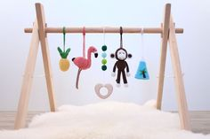 Tropical Island adventures baby gym. Flamingo, Pineapple, Monkey, Mountain. Activity center, gender neutral, wooden frame, baby gym toys//perfect gift for baby