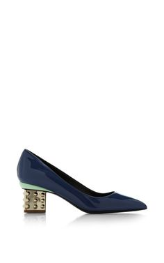 Triangle Pump Stud Heel In Dark Blue by Nicholas Kirkwood for Preorder on Moda Operandi
