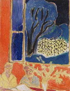 Henri Matisse (Français, 1869-1954), Deux fillettes, fond corail, jardin bleu, 1947, huile sur toile