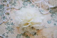 Ivory Large Shabby Shredded Lace Flower Set of One by inspireaway, $1.89
