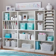 love the turquoise and white. maybe throw a little black in there. scrapbook or craft room organization. Stack Me Up Magazine Super Set Craft Room Storage, Craft Organization, Craft Rooms, Organizing, Book Storage, Cube Storage, Storage Baskets, Craft Room Shelves, Paper Storage