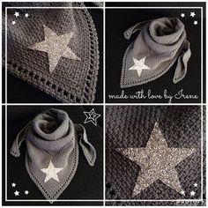 Warme gehaakte driehoek sjaal driehoekige shawl graniet steek granietsteek met glitter ster glitterster haakpatroon haak patroon haken gehaakt