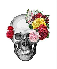 Here is an ink produced picture of a skull with flowers coming out of it. I love this design as it's simple but colourful and decorative piece of art work.