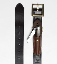 Freemans Sporting Club — Oxhorn Handle Knife Belt. Design idea for a built-in fixed blade sheath