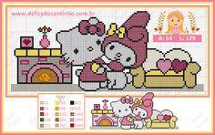 Gráfico Ponto Cruz Hello Kitty + My Melody