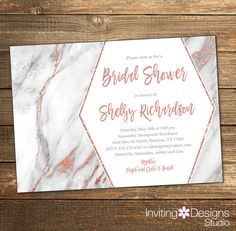 Marble Bridal Shower Invitation, Rose Gold Bridal Shower, Wedding Shower Invitation, Rose Gold and Gray, Metallic, Copper (PRINTABLE FILE)
