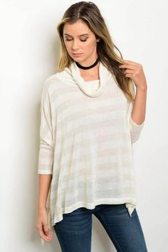 Candice Cowl Neck Light Stripe Sweater - Oatmeal and Cream