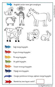 2 Sınıf Ingilizce Colours Renkler Boyama Sayfaları Etkinliği