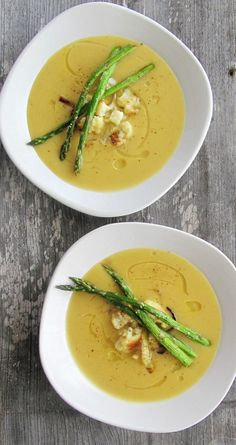 Roasted Cauliflower and Asparagus Soup,  made this this morning and it is amazing!!! I did add a little half and half though.