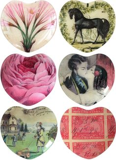 John Derian homewares collectible decoupage decor interior kitchen decorating style fashion design romance rose vintage horse flower lovers kiss plate heart shaped inspiration pretty lily stamp pink