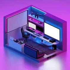 Bedroom Set Designs, Dorm Room Designs, Basement Designs, Best Gaming Setup, Gaming Room Setup, Gamer Setup, Small Game Rooms, Home Studio Setup, Tech Room