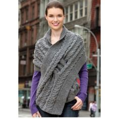 Mary Maxim - Free Pull-Through Cabled Wrap Knit Pattern - Free Patterns - Patterns & Books
