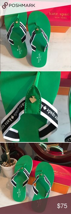 Make an offer!♠️Lucky Green Signature Spade Flops New in box!!!♠️ Kate Spade Emerald Green and White Logo Flip Flops ♠️  Beautiful bright green color with signature spade detail. Open to reasonable offers! kate spade Shoes Flats & Loafers
