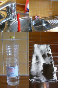 Nettoyant évier inox : 50% de vinaigre blanc + 50% d'eau + 1 cuil à café de liquide vaisselle + gttes huiles essentielles (odeur) - on rince pas, on essuie