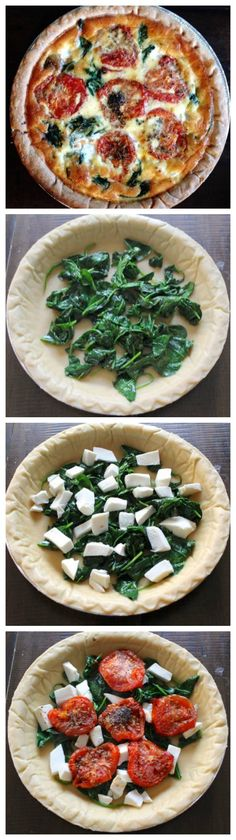 Roasted Tomato, Spinach, and Mozzarella Quiche Recipe - this was okay. I have other quiche recipes i like a lot better. Veggie Recipes, Dinner Recipes, Cooking Recipes, Healthy Recipes, Spinach Quiche Recipes, Party Recipes, Cookbook Recipes, Basic Quiche Recipe, Coctails Recipes