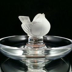 Lalique Ring Dish France Bird Ring Dish Lead Crystal Trinket Dish by OldGLoriEstateSale on Etsy