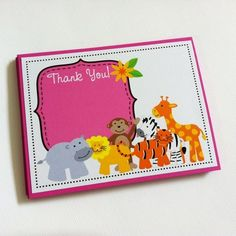 Cute Safari Animals Thank You Cards to pass along your gratitude to friends and family for their thoughtfulness. These wild jungle safari themed notecards are perfect to use after a birthday or baby shower party celebration is held. Take a look at how cute these baby animals are: hippo, lion, tiger, monkey, zebra and giraffe. Aren't they adorable? These thank you cards come in pink perfect for a girl's party. However, I can also do them in other colors such as blue, green, yellow etc.