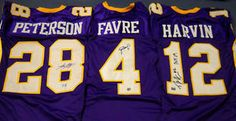 $585.44 GREATEST MINNESOTA VIKINGS FAN GIFT EVER!     AUTOGRAPHED BRETT FAVRE * ADRIAN PETERSON * PERCY HARVIN JERSEYS  BF HOLO AAA    This lot is designed for THE MINNESOTA VIKINGS SUPER FAN! It is perfect for a Man Cave, Sports Bar, or Office. Why buy different pieces when you can buy it all at one time at wholesale prices?!? Give one gift for a Birthday, one for your Anniversary! It will be the gift he looks forward to getting.