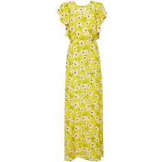 Rochas Crepe De Chine Flower Dress (42,855 MXN) ❤ liked on Polyvore featuring dresses, rochas, gowns, maxi dress, yellow, floral print maxi dress, floral print dress, short-sleeve dresses, tie back maxi dress and short sleeve floral dress