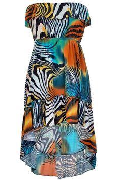 Vibrant Fun Print Strapless Sun Dress
