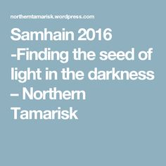 BLOG POST: Samhain 2016 -Finding the seed of light in the darkness – Northern Tamarisk
