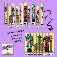 Pirate Strip Puzzles - Teen Numbers - Freebie