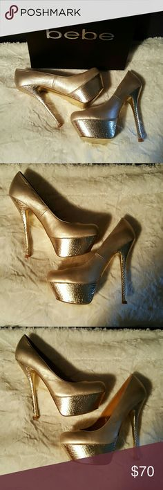 """BNWB bebe Super Model Sexy Heels 👠💖 Aprox 5"""" heel with shiny croc embossed bottom and heel with Gold patent leather!! Mirror bottom!! Get your Sexy Super Model on in these heels!!! Brand new in Box. 😘💋 bebe Shoes Heels"""