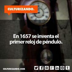 En 1657 se inventa el primer reloj de péndulo. #Curiosidades #DatoCurioso #SabiasQue #Educación #Cultura #FotoDelDía #Culturizando