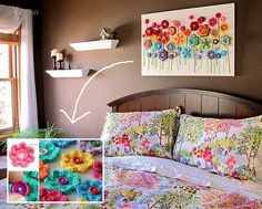 Making these pretty flowers into wall art. - Top 20 Cutest Crochet Projects Help to Personalize Your Home
