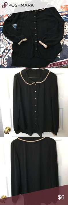 Forever 21 button down blouse This Forever 21 blouse is a great option for work! It has some signs of wear but is in good condition. The shirt can pull a little at the chest (I'm a 34D), but the buttons never popped and have never been replaced. Forever 21 Tops Button Down Shirts