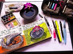 Painting at my hotel room by MagaMerlina (Maria Mercedes Trujillo), via flickr. A nice look at her travel art supplies and her beautiful work.