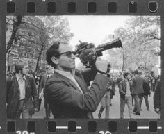 Jean-Luc Godard in Paris during the May 1968 protests.