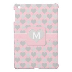 Hearts and Diamonds Pink iPad Mini Cases #ipadcase #ipad #cuteipad #girlyipad #monogramipad