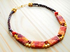 paper mache necklace paper necklace paper jewelry by henontheedge, $26.00