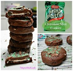 These Chocolate Mint Cookies are MINT. That is, if you like your chocolate and mint together. Otherwise, move along. And they are big. Really, really big. The recipe only makes Six. Chocolate Mint Cookies, Love Chocolate, Chocolate Desserts, Quick Cookies, Giant Cookies, Easy Desserts, Delicious Desserts, Crackle Cookies, Peppermint Patties