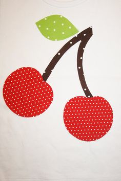 DIY Red  Cherry Iron on Fabric  Applique size 8 x by JellyPopChick, $3.50