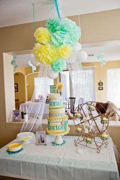 Yellow and Teal Baby Shower Baby shower idea for a boy or a girl. @wivesnightin