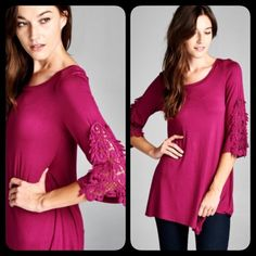 ❣LAST❣ Magenta Lace Crochet Sleeve Top Beautiful casual top with crochet sleeve. This color is so fun and gorgeous! Brand new. Sizes S M L. Runs true. Tops Blouses