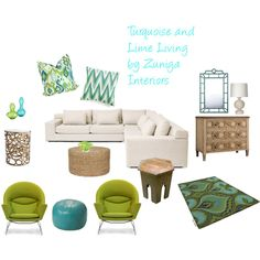 Turquoise and Lime Living by Zuniga Interiors on Polyvore