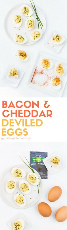 Bacon and Cheddar Deviled Eggs are filled with Irish Cheddar and crispy bacon making them a perfect summer snack!