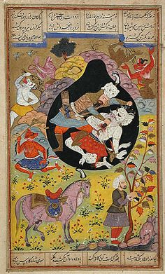 Rustam Slays the White Div, Folio from a Shahnama (Book of Kings), 1608 Painting; Watercolor, Opaque watercolor, gold, and ink on paper, Image: 6 3/4 x 4 3/4 in. (17.15 x 12.07 cm); Sheet: 9 1/4 x 5 3/4 in. (23.5 x 14.61 cm)