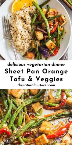 This Sheet Pan Orange Tofu & Veggie recipe is full of flavor, cooks up in about 30 minutes and is a simple, delicious vegetarian dinner for those busy weeknights ! Side Dish Recipes, Veggie Recipes, Fall Recipes, Real Food Recipes, Protein Recipes, Vegan Protein, Quick Recipes, Side Dishes, Easy Vegetarian Dinner